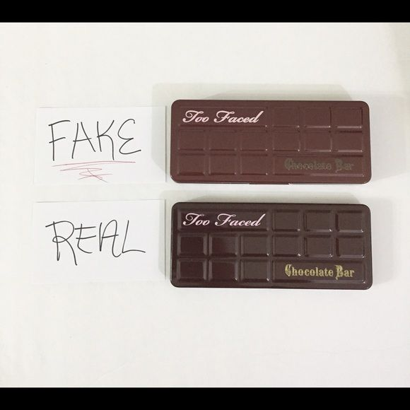 FAKE vs. REAL‼️Too Faced Chocolate Bar Palette FYI So i recently bought a fake Too Faced chocolate bar palette from Ebay for $35 dollars and it was listed as authentic. Just wanted to let you guys know the differences of the real vs the fake palette. Please look at photos for comparison. The most specifics that stand out include the color of the containers and quality of the printing, missing serial code, different thickness, and of course the chocolatey scent, color, and quality of the…