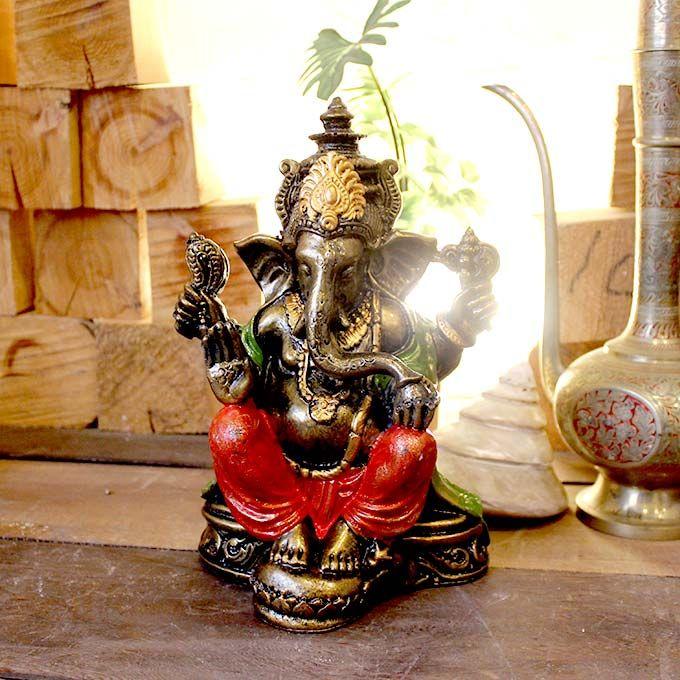 像の神様 ガネーシャ 開運の神様 置物 オブジェ ゴールド H25cm バリ雑貨 ヒンドゥー教 神様 オブジェ