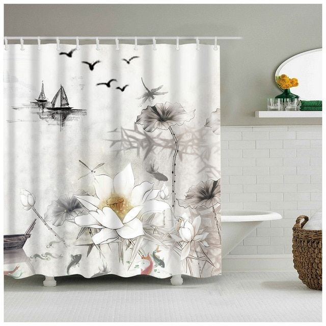 Traditional Chinese Ink Painting Summer Scenery Lotus Are Standing Proudly Peony Bathroom Shower Curtain For Home Bath Ac Home Curtains Curtains Shower Curtain