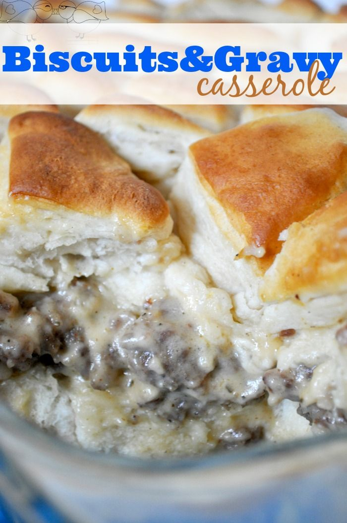 Amazing Biscuits and Gravy Casserole with perfectly fluffy biscuits and delicious sausage gravy. It's a breakfast recipe you will want to make over and over again.