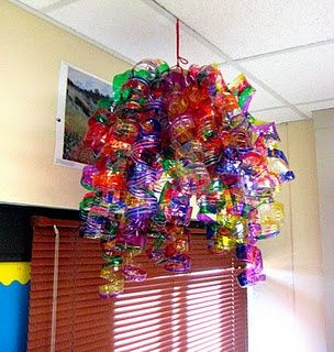 great for succot, chandelier made with Sharpie markers on water bottles, cut into spirals