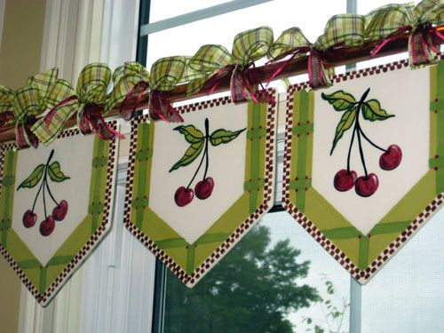 Valances for a Country Cottage Kitchen.  Heather Lane Pottery