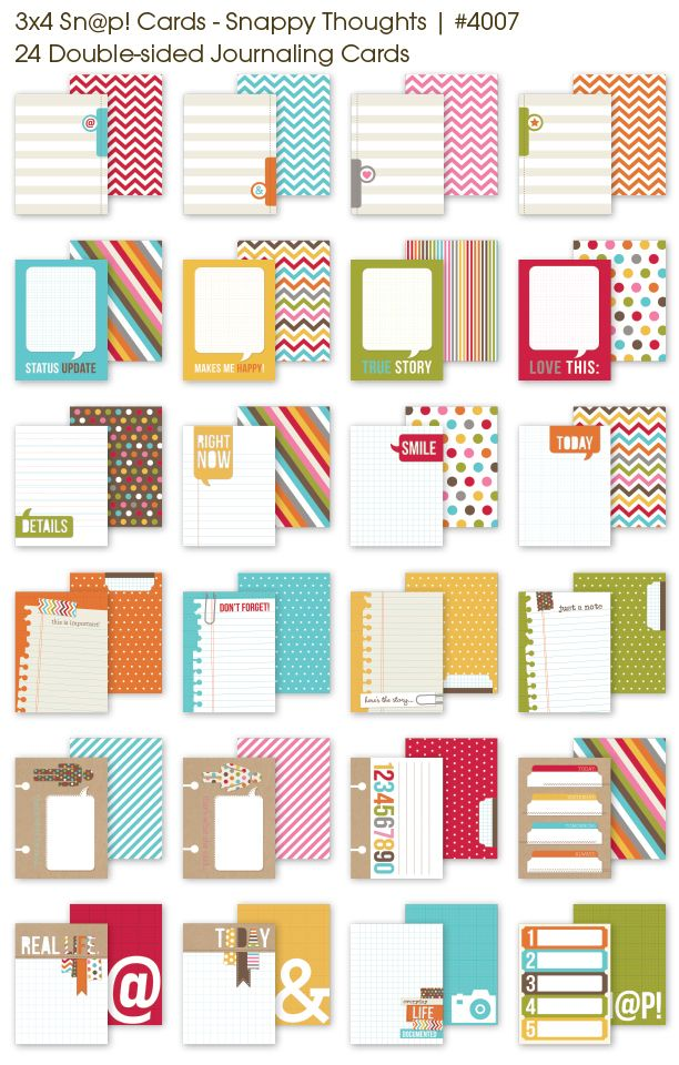 3x4 Sn@p! Cards - Snappy Thoughts - 24 Double-sided Journaling Cards