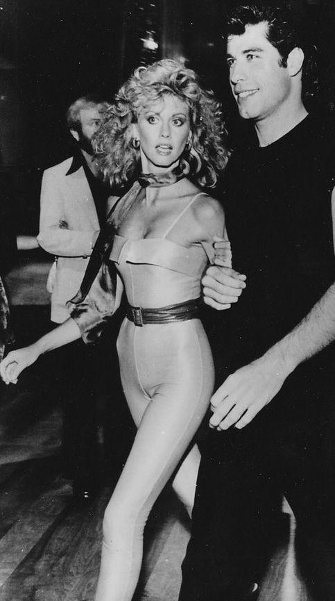 John Travolta and Olivia Newton-John on the set of Grease