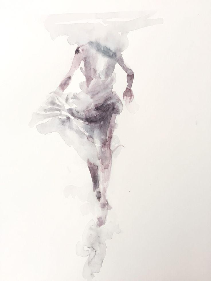 walking under water #watercolor #figure #study by Tuğba Duymaz #art #illustration #painting #underwater #black