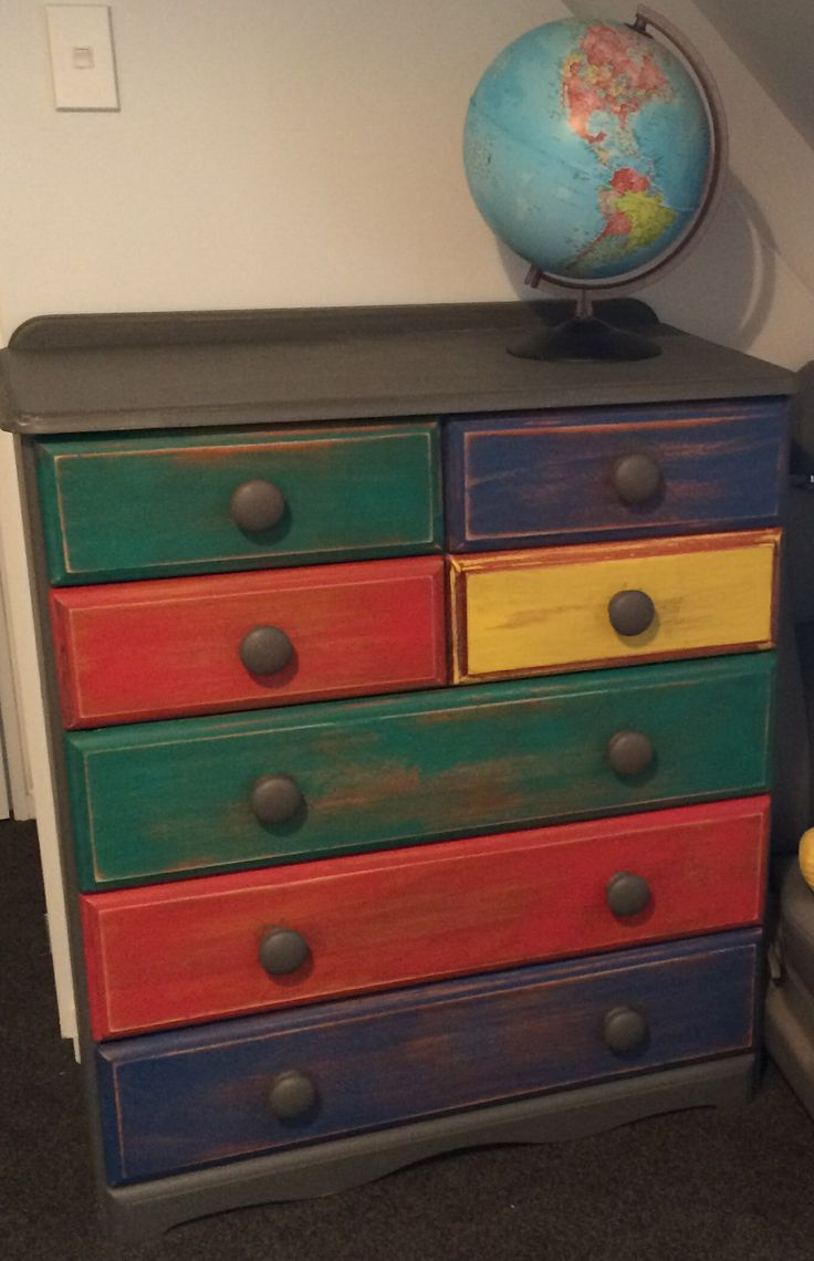 Distressed Colourful Scotch Chest