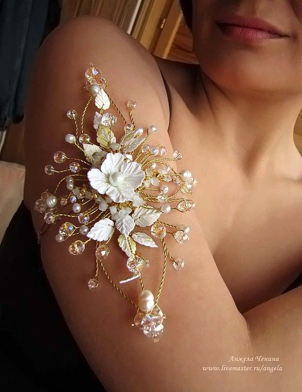 Russian artist- Polymer Clay flowers and wire work. Beautiful arm band.