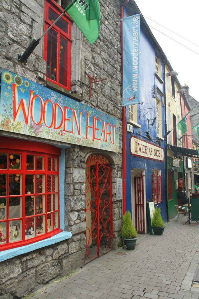 Storefronts in Galway, Ireland. I love Wooden Heart. It's been there since I was a child and sells the most gorgeous wooden toys :)