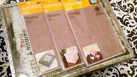 "3 pk Bundle Set by Cricut Cuttlebug - 5 x 7"" Embossing Templates by Anna Griffin : Modern Vines, Aviary, Flower Grid"