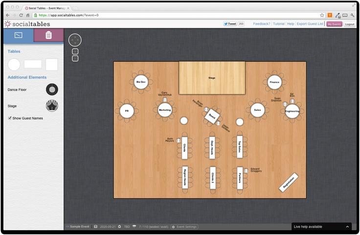 The Floorplan Designer SocialTables Event Planning Software - guest list sample