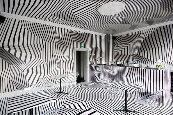 house of peroni bar -  trippy optical illusion striped-room by Andrea Morgante