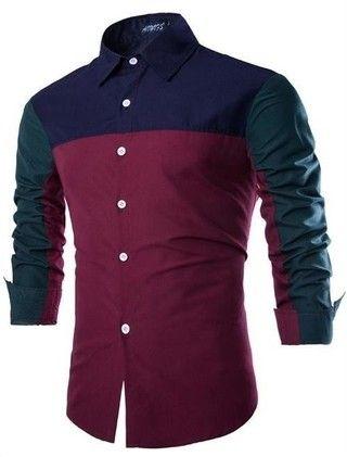 Camisa Juvenil Fashion Casual - Color Mixing Style - Azul Oscura