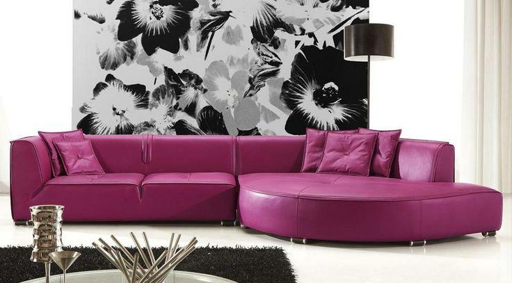 Manfredo Purple Leather Sofa - FurnitureToYourDoor