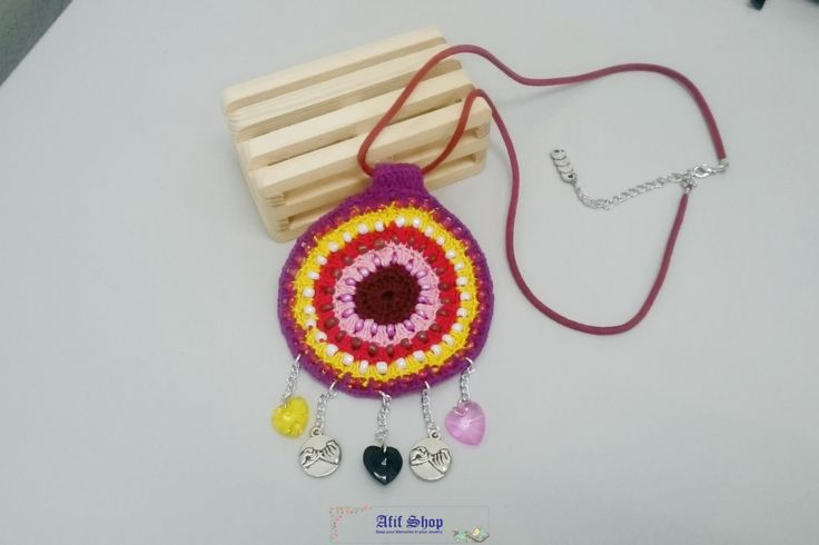 SUPER SALE /Crochet Necklace /Colorful jewelry /Beaded Jewelry /Ethnic necklace /Circle necklace /bohemian necklace /Gift for her by AfifShop on Etsy