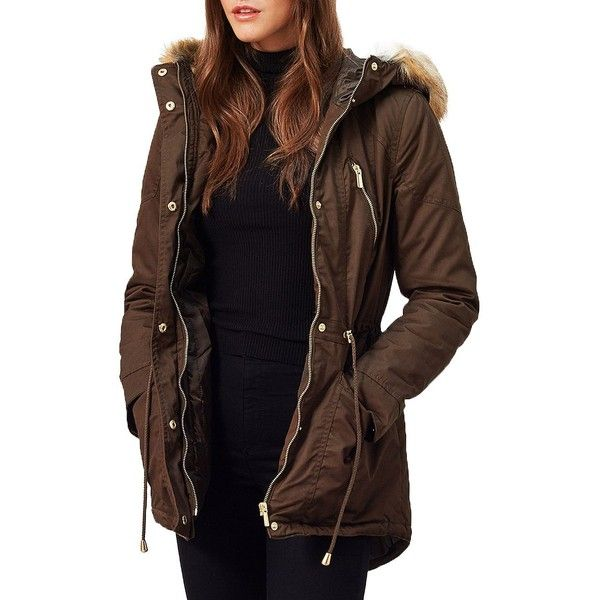 Miss Selfridge Faux Fur-Trimmed Parka ($135) ❤ liked on Polyvore featuring outerwear, coats, dark green, water resistant coat, faux fur parka, fur coat, fur parka and hooded coats