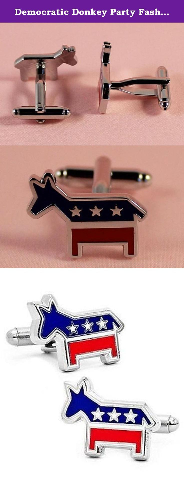 Democratic Donkey Party Fashion Politics Designer Cufflinks. Show off your pride in your Democratic party with these clever donkey political party cufflinks. Made in the USA and featuring the colors of our flag, these are a real treasure. Arrives in a top-quality presentation box. We ship within 24 hours and have a friendly 30-day return policy.