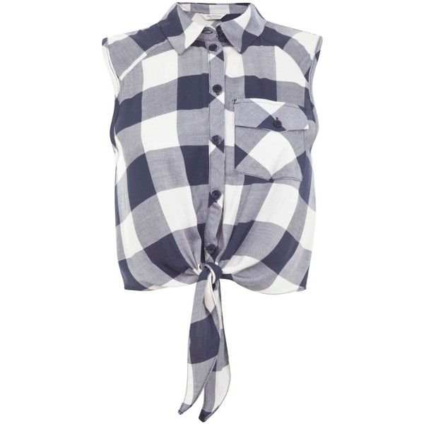 Miss Selfridge Check Tie Front Shirt, Blue Multi found on Polyvore