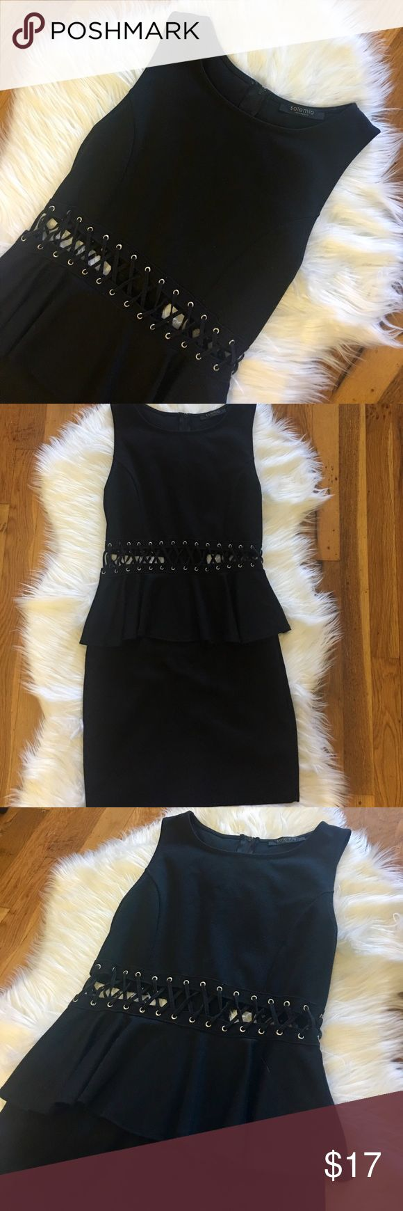 Black Peplum Dress Purchased from Nasty Gal a few years ago. Zips up the back. This was my GO TO lbd for a long time🖤🖤 worn but in fair condition. Nasty Gal Dresses Mini