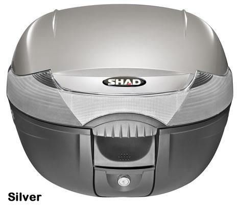 "Shad SH-33 motorcycle top case in silver. Designed to attach to most flat luggage racks. Its dimensions are: 16.5"" L x 16.9"" W x 12.2"" H  and has a 33 liter capacity. Your price is $134.95. With Free Shipping."