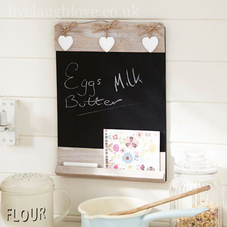 Rustic Chalkboard with 3 Hanging Hearts