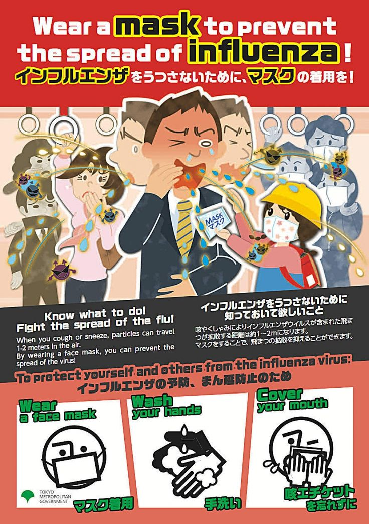 Posters in Japanese and English warn of the flu threat