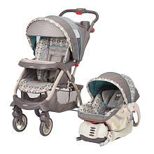 Baby Trend Travel System Stroller - Moonlight ($189.99 at BabiesRus, available in store). Lots of great reviews.  Has the triangle handle we liked.
