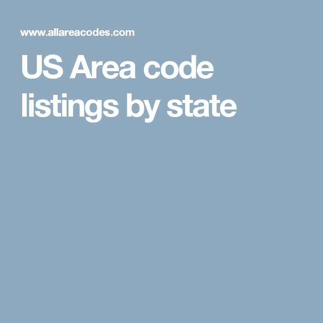US Area code listings by state