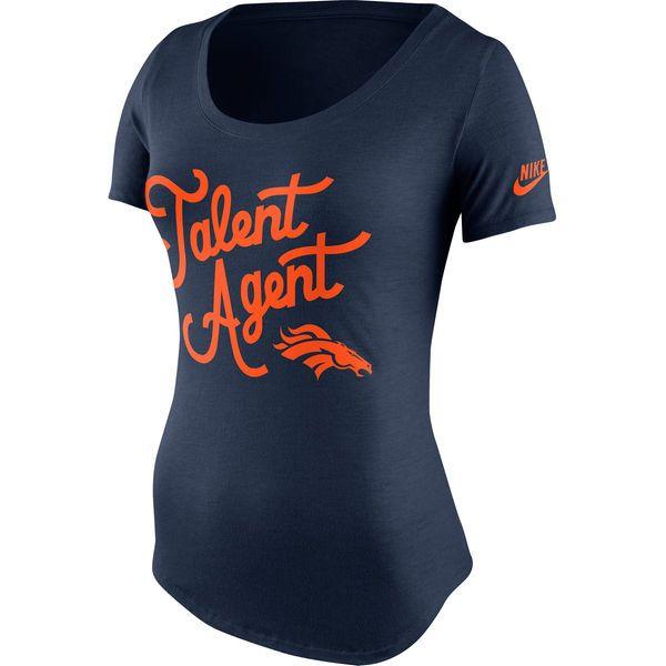 Women's Nike Navy Blue Denver Broncos Talent Agent Tri-Blend T-Shirt