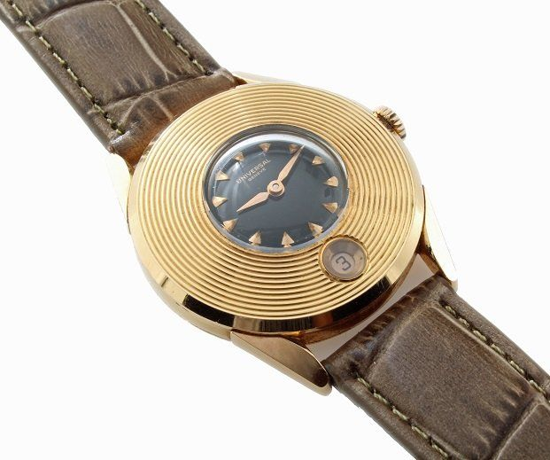 Fine, rare, and unusual vintage gents 18k rose gold Universal Geneve wristwatch, circa 1950`s.   http://www.liveauctioneers.com/item/25627358_rare-vintage-mens-18k-pink-gold-universal-geneve-watch