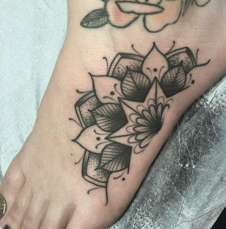 Mandala foot tattoo                                                       …