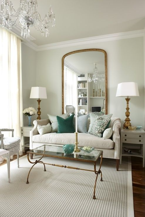 Sarah Richardson Design Light Green Walls Paint Color Floor Length Gold Mirror Nicole Sofa With Pillows Antique Br Gl Top