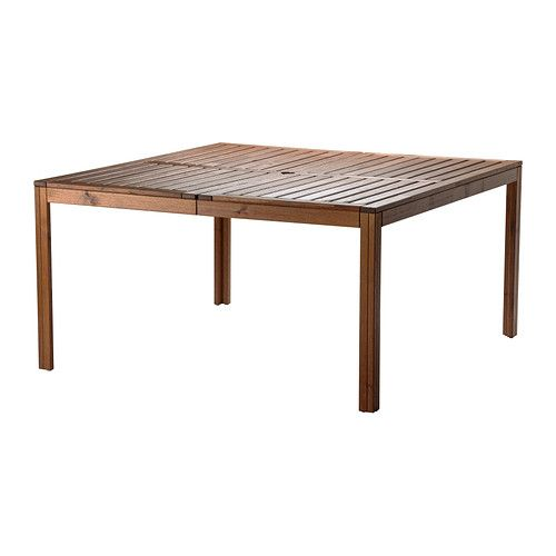 IKEA - ÄPPLARÖ, Table, outdoor, The hole in the middle of the table top keeps your umbrella in place.</t><t>For added durability and so you can enjoy the natural expression of the wood, the furniture has been pre-treated with several layers of semi-transparent wood stain.
