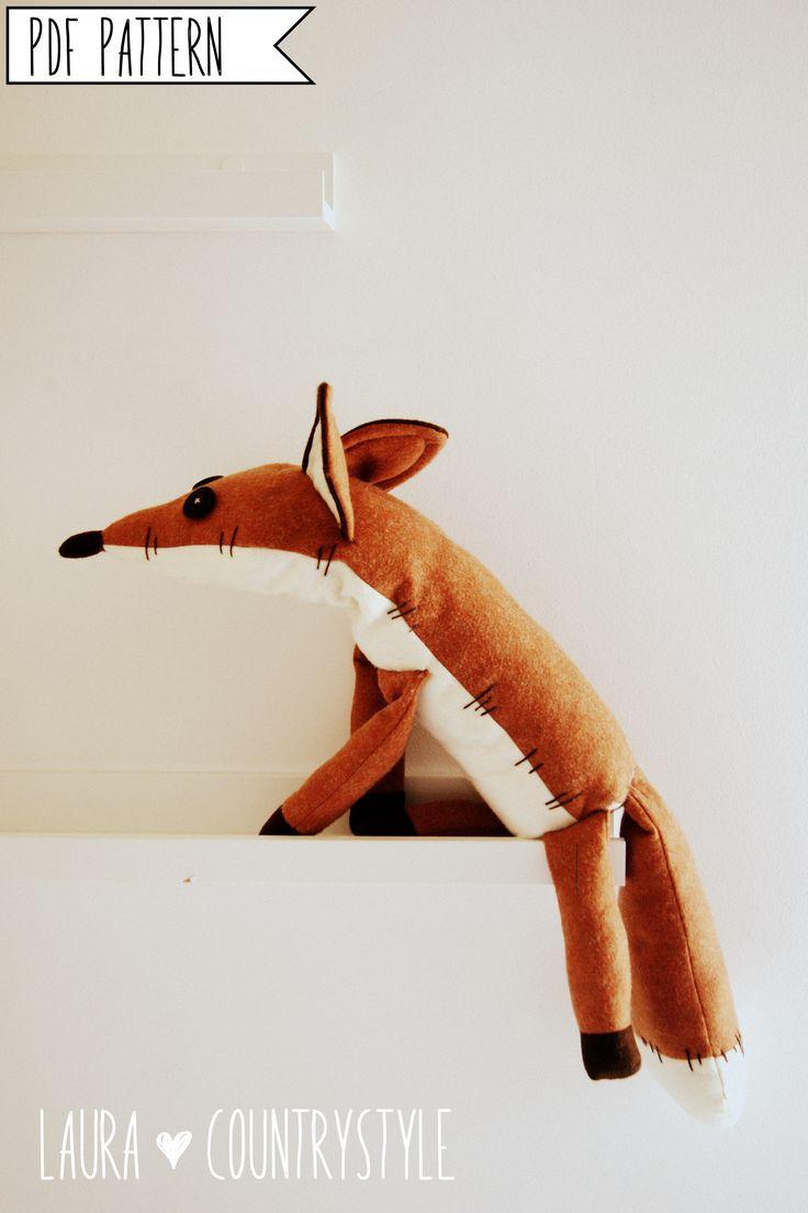 Pdf Sewing Pattern Fox Stuffed Animal Fox Plush Toy Pattern