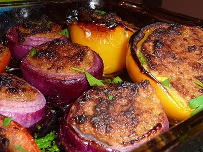 Fresh vegetables stuffed with meat filling