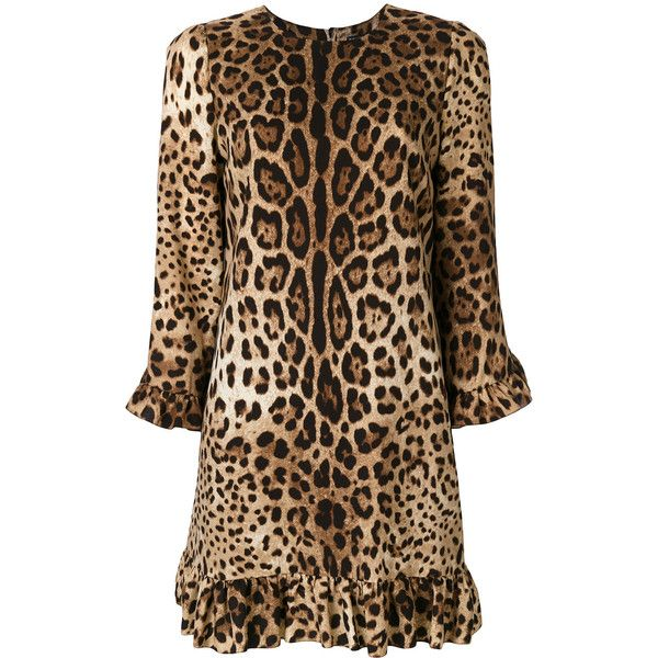 Dolce & Gabbana leopard print dress featuring polyvore women's fashion clothing dresses brown long-sleeve shift dresses going out dresses night out dresses brown long sleeve dress holiday party dresses