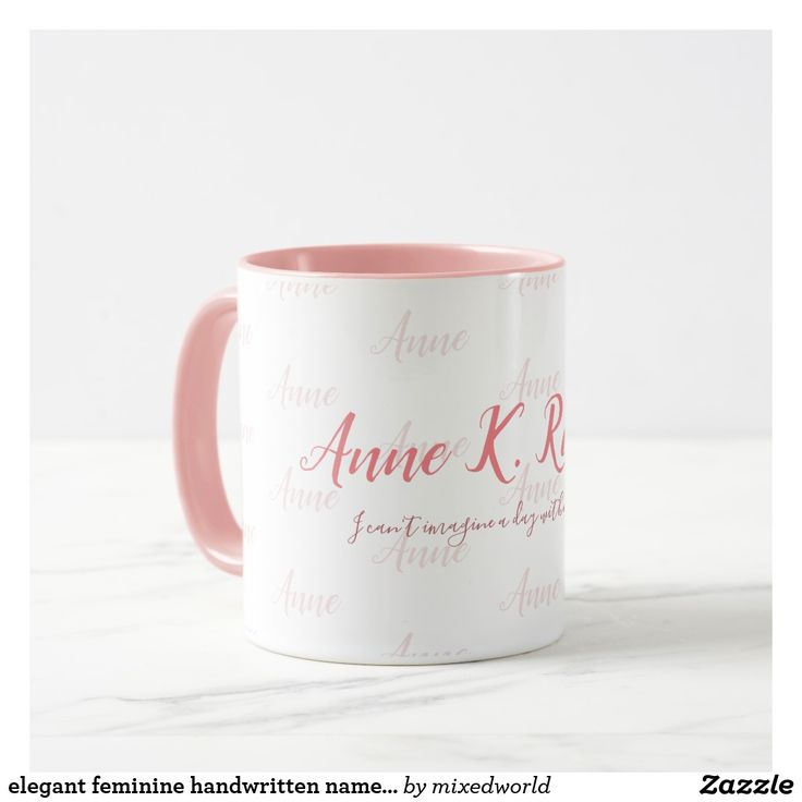 stylish design ideas unique coffee cups. elegant feminine handwritten name pink white mug  gifts classic stylish gift idea diy style 136 best Personalized Names Coffee Mugs images on Pinterest