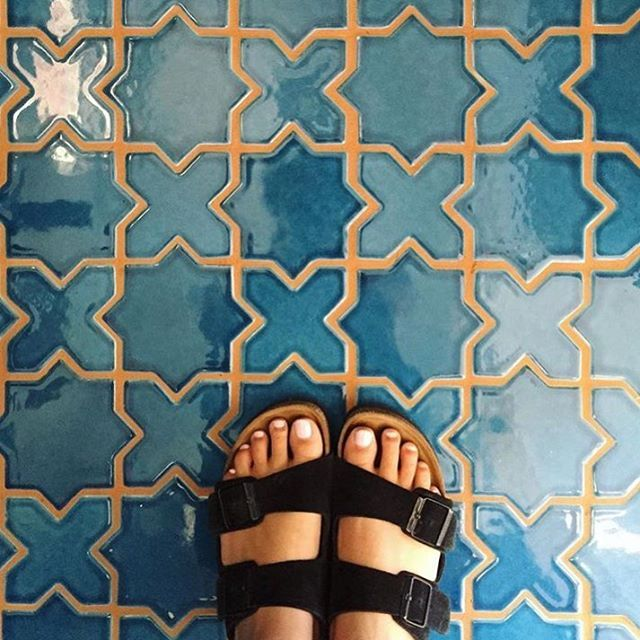 RG: We have this thing for @justinablakeney 's bathroom floor. (This is Adriatic Sea in our Mini Star and Cross). Where would you install this pattern? #tiles #design #color