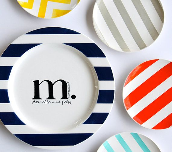 modern monogrammed plates collection personalized with name and date...!: Pottery Ideas, Gifts Ideas, Collection Personalized, Colors Me Mine, Plates Collection, Pottery Paintings, Modern Monograms, Wedding Gifts, Monograms Plates