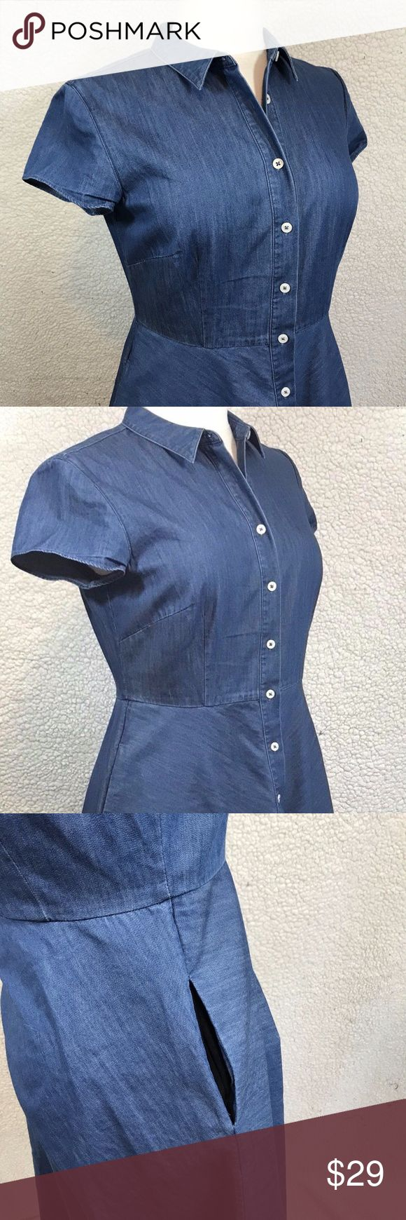 """Boden Women's Denim Shirt Dress Size US 6L Boden Women's Denim Shirt Dress Size US 6L UK 10L Button Front Short Sleeve. Pockets. No Rips, Stains or holes. Smoke Free Home.   Fabric: 100% Cotton Approximate measurements:  Length: 41"""" inches  Chest (laying Flat underarm to underarm) : 17.5"""" inches Boden Dresses Asymmetrical"""