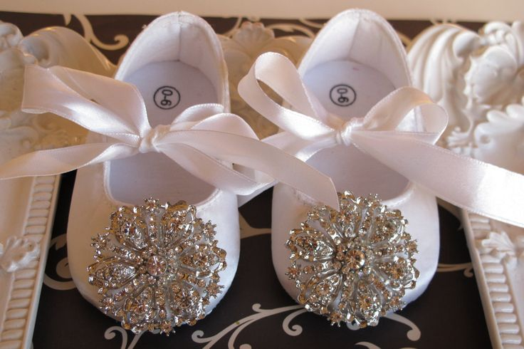 Baby Girl  white  Crib Shoes  ,Baby Shoes,Christening, Baptism, Wedding, Ready to ship. $28.50, via Etsy.