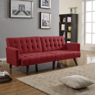 langley street kaylynn mid century convertible sofa upholstery  red red leather futon   furniture shop  rh   ekonomikmobilyacarsisi