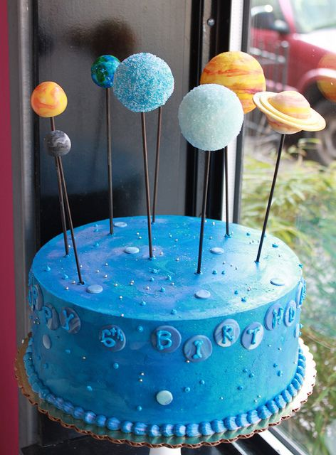 Brian's birthday cake :D The planets should be cake pops too!