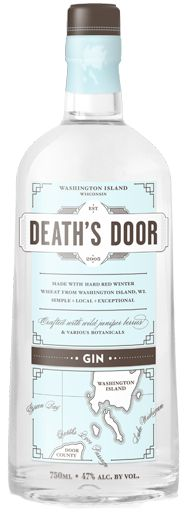 Death's Door Gin. 47 % ABV. Classic. simple botanical mix of juniper berries, coriander and fennel. Death's Door Gin has a full London Dry flavor without all of the bitterness because of the extraction process and the base spirit. In fact, you can taste all three botanicals: loaded juniper berries up front; spicy, citrusy notes from the coriander seeds in the mid-palate; and a soft, cooling finish provided by the fennel seeds.