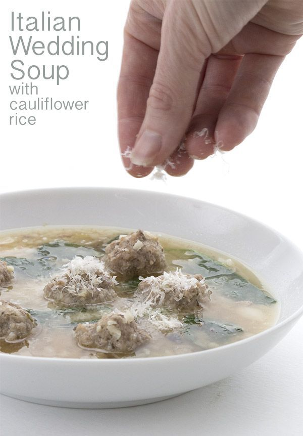 Simply the best low carb Italian Wedding Soup, chock full of grain-free meatballs and cauliflower rice. THM LCHF Banting Keto recipe. via @dreamaboutfood
