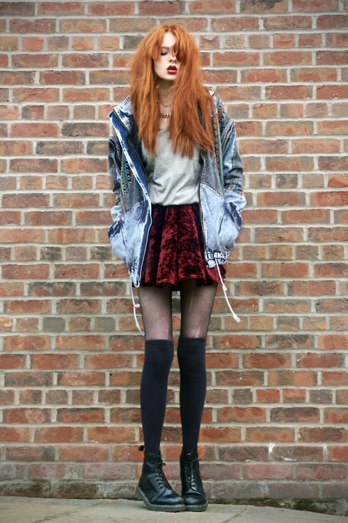Grunge. Knee High Socks. Pantyhose. Red Skirt. White Baggy Shirt. Jean Jackets. Orange Hair. Cute Outfit.
