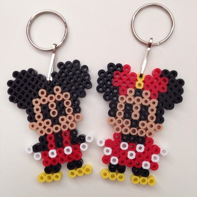 Mickey and Minnie Mouse keyrings perler beads by o2britt. So cute!