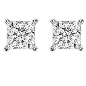 Platinum, 3/4 ct total weight  screw post, princess cut, diamond stud earrings. Diamonds are graded as VS in clarity G-H in color.