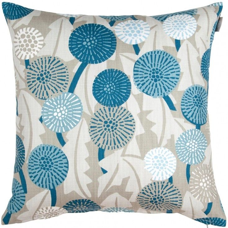 Spira Maskros Blue Cushion Cover from Hus & Hem.  They may not be a welcome sight in the garden, but Spira's pretty Maskros cushion with its striking dandelion print will certainly liven up your home.  Spira of Sweden's Maskros cushion features a botanical print in harmonious shades of ink, petrol, powder blue and putty grey.  Mix & match Maskros with the Bubbla & Dotte cushions, to name just a few of Spira's many complimentary patterns that are designed to create a happy Scandinavian home.