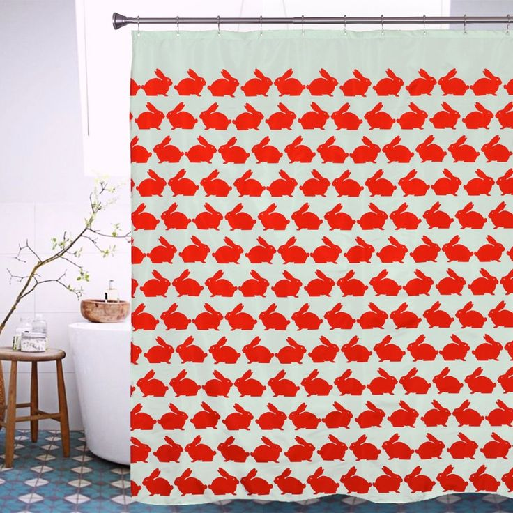 Red Rabbit Shower Curtain 2016 Hot Sale Polyester Animal Bath Curtain Waterproof Mildew Home Decor Bathroom Curtains with Hooks
