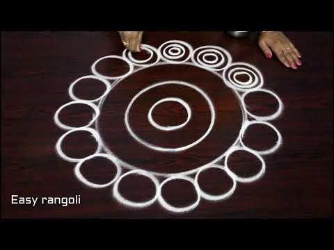 easy beginners kolam designs with 7 dots - simple chukkala muggulu - latest rangoli designs - YouTube